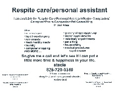 RESPITE CARE/PERSONAL ASSISTANT