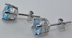 Awesome 2 Ct Blue Topaz 0.925 Sterling Silver W/ Platinum Earrings