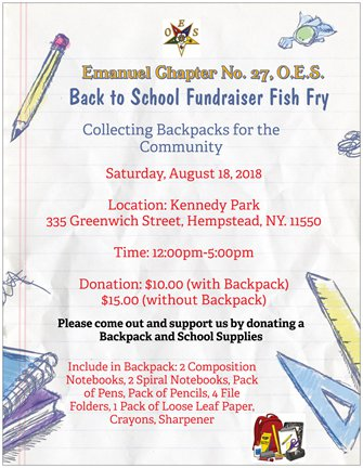 Backpack Back to School Fish Fry Fundraiser