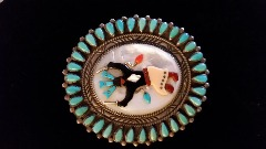 Vintage Native American 1950s Zuni Belt Buckle/Signed by Yazzie