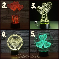 SPECTACULAR GIFT - 7 Color LED 3D Happy Birthday Love Hearts Lamp/Nightlight (free shipping)