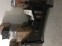 Queen size, Solid oak, painted black and distressed, headboard/footboard/side rails