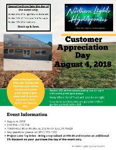 Northern Lights Hydroponics Customer Appreciation Day, August 4, 2018