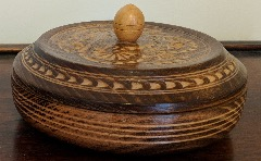 Vintage Round Wooden Trinket Box
