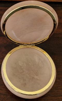 Vintage Round Pink Alabaster Trinket Box