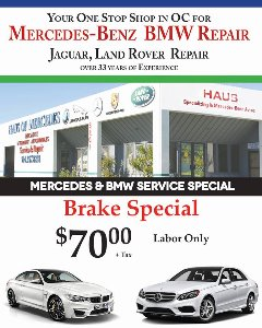 Haus of Mercedes Brake special   714-957-8281