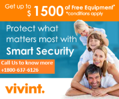 VIVINT HOME SECURITY 1800-637-6126 NO ACTIVATION FEE | FREE EQUIPMENT WORTH $1500