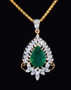 Natural Exotic Gold Emerald Pendant