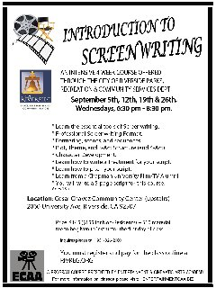 Introduction to Screenwriting (Certificate class)!