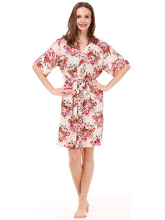 Mr & Mrs Right Women's Floral Cotton Kimono Robe for Bride and Bridesmaids Dressing Gown