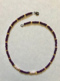 Short Beaded Necklace Purple & Yellow 16.5""