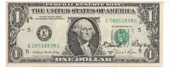 1981 Donald Regan Signed One Dollar Bill with Original Holder