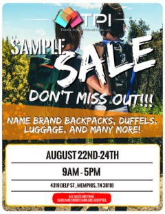 HUGE Brand Name Backpacks, Duffels and Luggage SAMPLE SALE - COME ON DOWN!
