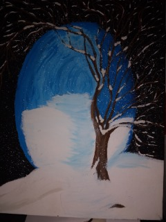 Hand Painted Winter scene Picture