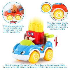 LUKAT Boy Toy Cars, Set of 4 Play Vehicles Push and Go Friction Powered Car