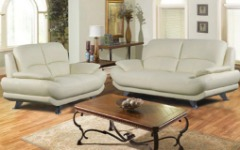 Modern Design Ivory Leather Sofa & Loveseat Set