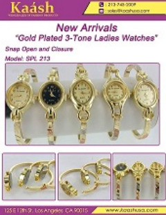 """""""Gold Plated 3-Tone Ladies Watches""""Snap Open and Closure"""