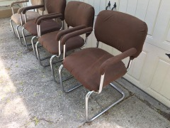 four mid century chrome dining chairs