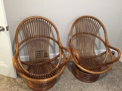 vintage rattan Tiki swivel lounge chairs, and table