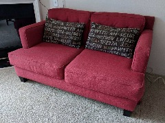 Great red couch and love seat for sale .. $300 obo