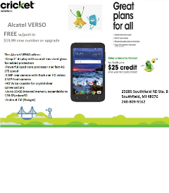 GET THE ALCATEL VERSO FOR FREE TODAY WHEN U SWITCH TO CRICKET WIRELESS SOUTHFIELD!!!