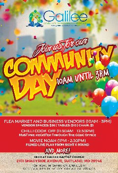 Community Day & FLEA MARKET & Chili Cook-off at Galilee Community Development Corporation