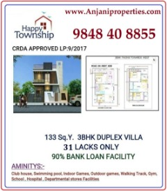 3BHK Duplex Villa for 31 Lacks only. A Well Gated Community