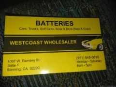 New & used car & truck marine/Solar / RV Battery's with a warranty.