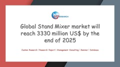 Global Stand Mixer market will reach 3330 million US$ by the end of 2025