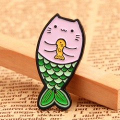 Cat with Mermaid's Tail Custom Pins