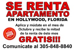 RENTA DE APARTAMENTO en HOLLYWOOD, FLORIDA - OFERTA