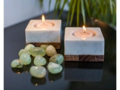 Marble and Wood Tea Light or Pillar Candle Holders | Artisanal Creations