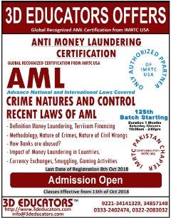 ANti-Money laundering traning offerd by 3D educators