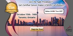 Get Certified now as Scrum Master(CSM)- Toronto,Ontario