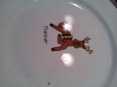 Pottery Barn Holiday Christmas Reindeer Dessert Plates