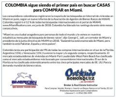 COLOMBIA LIDERA EL RANKING DE COMPRA DE CASAS EN MIAMI-USA