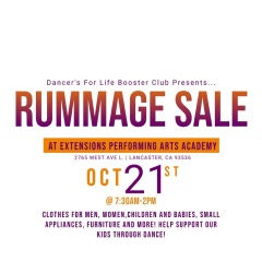 1st Annual Dancer's For Life Booster Club Rummage Sale,  October 21st!