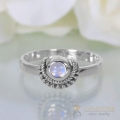 Moonstone Ring-Artistic Crescent
