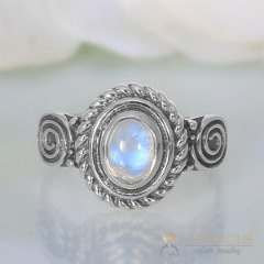 Moonstone Ring-Rounded Flair