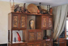 Wall unit cabinets, real wood, imported, hand carved