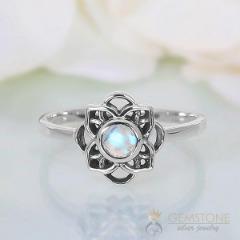 Moonstone Ring-Celtic Flower