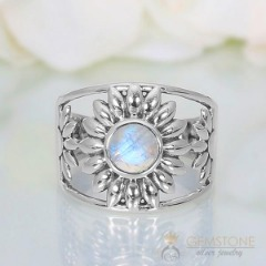 Moonstone Ring-Blossoming Moon