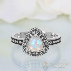 Moonstone Ring-Triple Grandeur