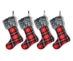 Buffalo Plaid Christmas Stockings Red Decoration