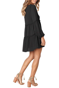 VIVOSKY Women's Long Sleeve V Neck Ruffle Tunic Dress Loose Swing Dress