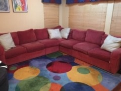 Comfy 6 seat, red sectional Ethan Allen sofa needs new home.