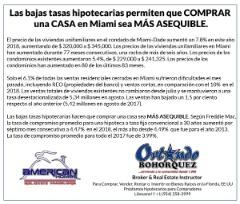 BAJAS TASAS HIPOTECARIAS PERMITEN COMPRAR CASA EN MIAMI-FLORIDA