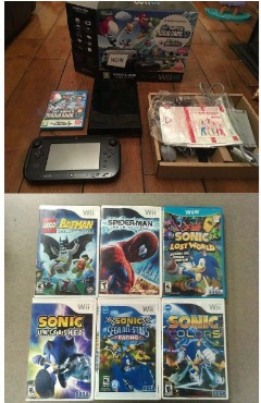 Nintendo Wii U Deluxe System and 8 Games Included
