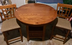 """Very Nice Wood Round High Top Table w/18"""" leaf & 2 Matching Chairs - $200."""