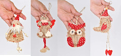 Christmas Ornaments Hanging Tree Decorations - 8pcs Burlap Owl Bird Santa Claus Angel